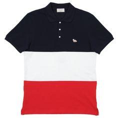 Maison Kitsuné Multicolour Polo (Navy, Cream and Red)