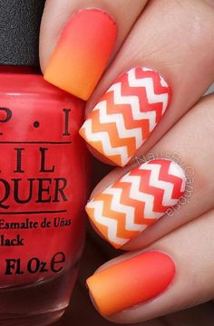 déco ongles gel, orange et blanc avec chevrons Vernis À Ongles Orange, Ongle  Gel