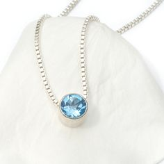 December Birthstone Blue Topaz Necklace handmade by Lilia Nash in her Cotswolds studio. Using the finest recycled Sterling silver and ethically sourced gemstones. Price from £110