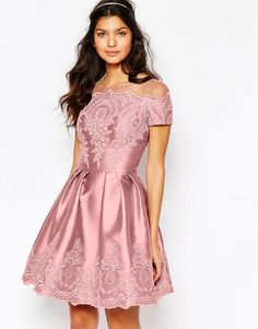Chi Chi London Midi Dress with Embroidery and Cap sleeve