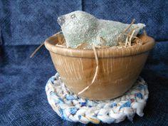 OOAk Blue Bird in Wooden Bowl Nest on Rag Rug Paper Mache Folk Art Figurine Primitive Bird Shelf Setter Handmade  Rustic Country Decor by TheCopperFinch on Etsy