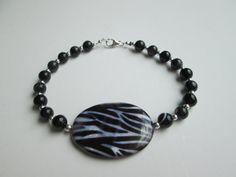 Zebra stripe shell bracelet 8 by ClassyGlassandJewels on Etsy