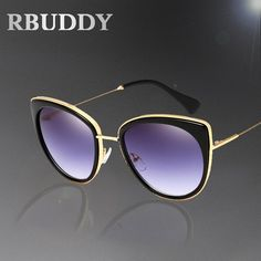 RBUDDY Cat eye Sunglasses for Women Mirror Metal Female Fashion Brand Sun glasses lunette de soleil femme With case box
