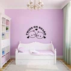 Twins on Board Wall Decal  Are you from the lucky ones who are gifted with twins? Congratulations. With double babies, double the fun by buying twins on board wall sticker by KC Wall Decals.  SMALL :-- 24 X 15 -- IN INCHES MEDIUM :-- 38 X 24 -- IN INCHES LARGE :-- 48 X 31 -- IN INCHES