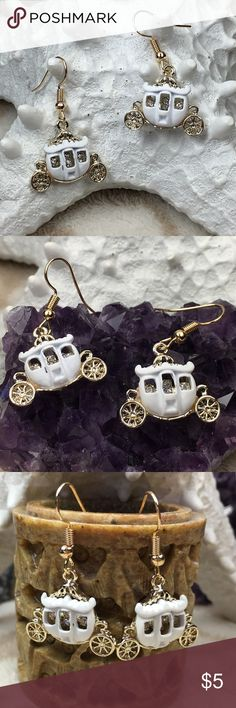 Cinderella Stagecoach Earrings Fish Hook style earrings. Gold toned hooks. Brand New. Rhinestones in each carriage. Jewelry Earrings