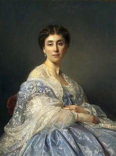 "Józef Simmler ""Portrait of Aleksandra Zatlerowa"", 1862, oil on canvas, Dimensions:94 × 71.5 cm (37 × 28.1 in), National Museum in Warsaw."