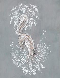 Squirrel in Ferns  Print by swanbones on Etsy