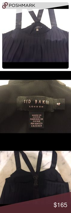 Ted Baker London Black Pleated Silk Top. Size 4/L Ted Baker London, Size 4, Large, Black , pleated flowing, Silk and Chiffon Top. Ted Baker 4. Bought at a boutique, never been worn. New. Great Holiday top to dress up with Black pants! Make me an offer! Ted Baker London Tops