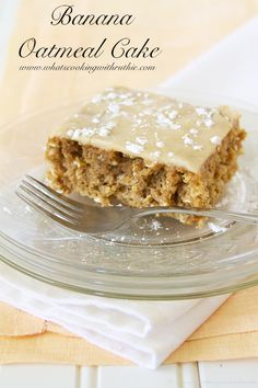 Banana Oatmeal Cake! Moist and delicious with way less calories by www.whatscookingwithruthie.com #recipes #dessert