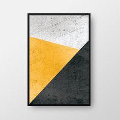 Printable Geometric Wall Art, Geometric Print, Scandinavian Print, Nordic Poster, Modern Print, Minimal Poster, Yellow Black Print