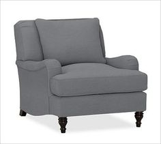 Carlisle Upholstered Armchair, Down-Blend Cushions, Twill Metal Gray - traditional - Armchairs - Pottery Barn