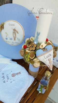 "Sara Creations - Lumanare botez nonflorala personalizata cu inimioara brodata manual "" dream big little one """