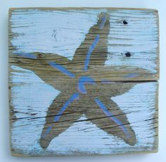 Starfish on Reclaimed Picket Fencing Wood by ACleverSpark on Etsy, $28.00