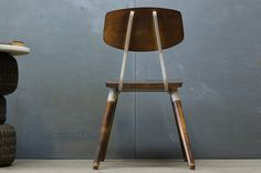 Vintage Industrial Black Maple and Steel Cafe Chair