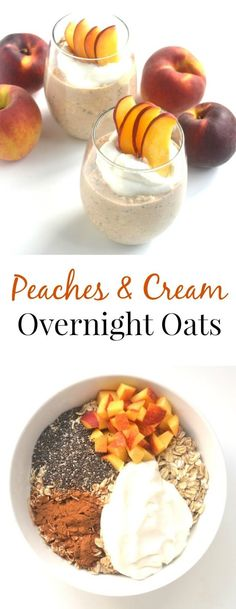 Peaches and Cream Overnight Oats is part of Overnight oatmeal - Peaches and Cream Overnight Oats take 5 minutes of prep time the night before and you will have a delicious breakfast ready to go in the morning! Clean Dinner Recipes, Healthy Breakfast Recipes, Healthy Drinks, Clean Eating Recipes, Healthy Snacks, Healthy Recipes, Nutrition Drinks, Diet Drinks, Dinner Healthy