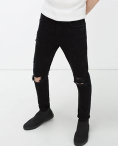 NEW CARROT FIT JEANS WITH RIPS-Distressed-JEANS-MAN | ZARA United States