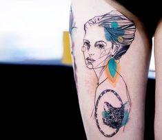Woman portrait tattoo by Marta Lipinski