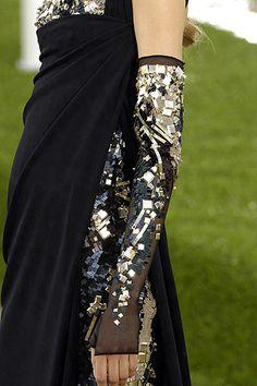 Chanel jeweled fingerless glove