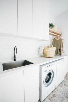 Kyal and Kara's Central Coast Australia home renovation – GetInMyHome Home Renovation, Home Remodeling, Bathroom Remodeling, Modern Laundry Rooms, Laundry In Bathroom, Laundry Cupboard, Laundry Cabinets, Laundry Decor, Laundry Closet