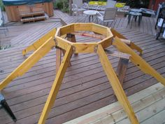 Roof idea to accommodate fire pit. - Roof idea to accommodate fire pit. Gazebo Roof, Gazebo Plans, Deck With Pergola, Wooden Pergola, Patio Roof, Pergola Kits, Pergola Ideas, Backyard Ideas, Gazebo With Fire Pit
