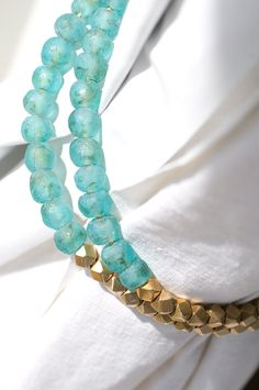 From Otego, gorgeous tie backs! PAZIA MAPAMBO decorative curtain tie-backs made with West African recycled glass beads