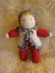 She is soft and cuddly to cuddle up with She is hand crafted using natural materials. Wearing a knitted wool cap and the vest is made from Elf Doll, Waldorf Dolls, Cuddle, Natural Materials, Vest, Teddy Bear, Cap, Wool, Unique Jewelry