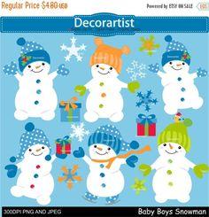 ON SALE Christmas clip art Snowman clip art by Decorartistclipart
