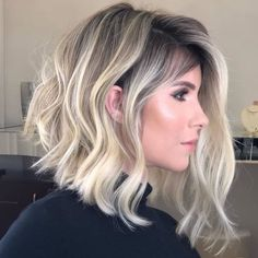 Mixed Color Women's Medium Bob Hairstyles Straight Synthetic Hair Wigs Capless Wigs - Bob Frisuren Hair Color Balayage, Blonde Balayage, Blonde Highlights, Ombre Hair, Haircolor, Bayalage, Choppy Bob Hairstyles, Wig Hairstyles, Straight Hairstyles