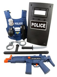 Police Force Role Play Set for kids w/ Combat Vest, Riot Shield, Badge, Handcuffs, Machine Gun Toy, Grenade, Club & Knife