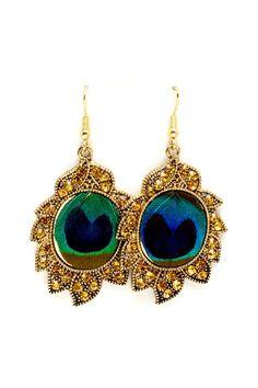 Crystal Peacock Earrings.