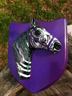 Sugar skull horse head mounted on purple wooden by MrsMuertos, $120.00