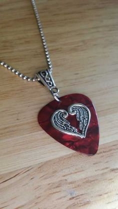 Guitar Pick Necklace - Red - Valentines Necklace - Heart Jewelry - Guitar  Pick Jewelry - Angel Wings - 24 inch - Ball Chain Necklace