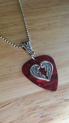 Guitar Pick Necklace Red Valentines Necklace by GuitarPicks4U, $11.99