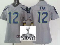 Women Nike Seattle Seahawks 12 Fan Grey 2014 Super Bowl XLVIII NFL Jerseys