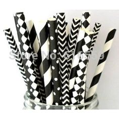 200pcs/lot Black and White Mixed Paper Straws Masquerade,paper Drinking Straws for Wedding Party Decoration >>> Want to know more, click on the image. (This is an affiliate link and I receive a commission for the sales)