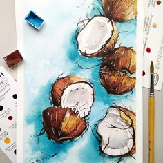 Pin by shagun jain on art ideas ❤ art, art drawings, painting. Watercolor Art Diy, Watercolor Fruit, Watercolor Art Paintings, Watercolor Illustration, Painting & Drawing, Watercolour Tutorials, Watercolor Pictures, Watercolors, Digital Paintings
