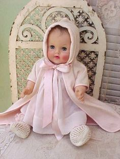 """Adorable 18"""" 1954 Sun Rubber Bannister Baby Doll in Original Clothing"""