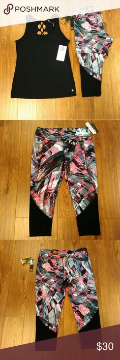 """NWT RBX Athletic Capri Size XL NWT RBX Multi Color Athletic Performance Capri Size XL  Wicking Four Way Stretch Flat Lock Seams Fade Resistance The black on the lower leg is mesh 88% Polyester 12% Spandex  Aprox Measurements Taken Flat  Waist: 15.5"""" Rise: 11"""" Inseam: 23""""  Please Check Out My Other Items  #107  Top Sold Separately RBX Pants Capris"""