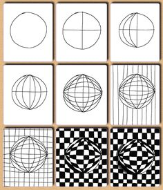 Op Art ideas by Tina Kejlberg. Great tangle ideas.  PLUS More Op Art ideas here.  Use translator if needed.