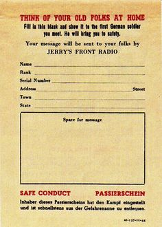 German leaflet: Safe Conduct Pass for Colored Soldiers.