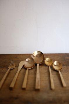 Image of Set of vintage Nickel Bronze cutlery for 3