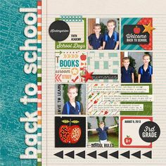 Back to School scrapbook layout by Kristin Cronin-Barrow School Scrapbook Layouts, Scrapbook Sketches, Scrapbooking Layouts, Yearbook Layouts, Yearbook Design, Papel Scrapbook, Kids Scrapbook, Scrapbook Cards, Scrapbook Supplies
