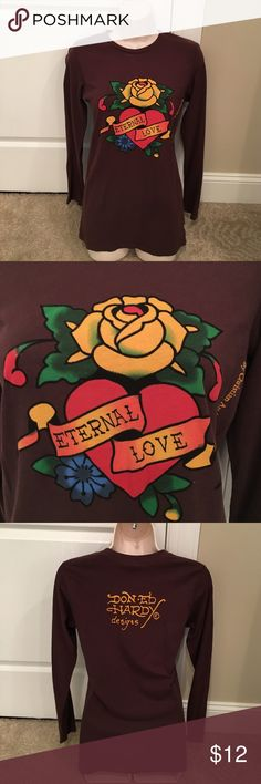 "ED HARDY Brown Long Sleeve Tee ""Eternal Love"" ED HARDY Brown Long Sleeve Tee ""Eternal Love"" by Christian Audigier (Size M) Ed Hardy Tops Tees - Long Sleeve"