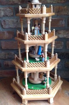 Parts+-+Vintage+4+Tier+Erzgebirge+Pyramid+Christmas+Nativity+Germany+Wooden+
