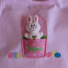 Easter Bunny Softie with Basket Applique - Machine Embroidery Design. $10.00, via Etsy.