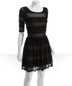 BCBGMAXAZRIA : black lace fitted sleeve ruffle trimmed 'Loue' dress