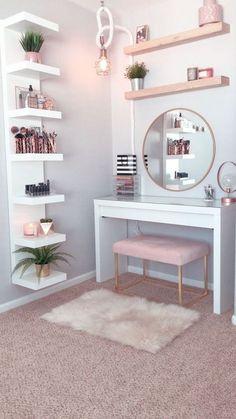Home Decor Shelves, Diy Home Decor, Decoration Bedroom, Pink Bedroom Decor, Wall Decor, Bedroom Storage Shelves, Girls Bedroom Colors, Shabby Bedroom, Home Decor Mirrors