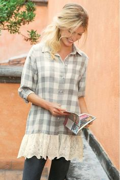 """With an inspired mix of oversized checks in brushed cotton flannel and scalloped eyelet lace, this top is a must-do for spring. Comfy with a button closure and 3/4 button-cuff sleeves. Cotton/poly; cotton. Misses 33"""" long. Chanteclair Top - Item #29991"""
