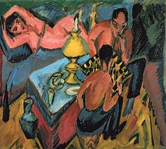 Ernst Ludwig Kirchner - Erich Heckel and Otto Mueller playing chess Ernst Ludwig Kirchner, Max Beckmann, Claude Monet, Museum Berlin, Paul Cezanne, Expressionist Artists, Most Famous Paintings, Oil Painting Reproductions, Impressionist