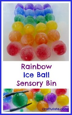 This colourful sensory bin is made with ice balls! Make these beautiful spheres in a special mold and have fun exploring them.